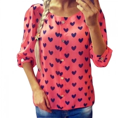 New Fashion Womens Ladies Loose Chiffon Tops Long Sleeve T-Shirt Casual Blouse red s
