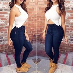 Women Pencil Stretch Casual Denim Skinny Jeans Pants High Waist Jeans Trousers dark blue s