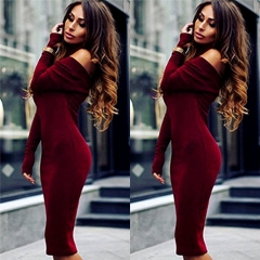 Womens Sexy Autumn Winter Long Sleeve Knit Bodycon Sweater Mini Dress Knitwear wine red s