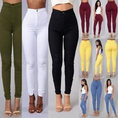 Hot Selling Sexy Women Skinny Stretch Denim Slim High Waist Trousers Leggings Jeans Pants red xl