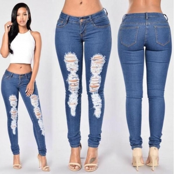Sexy Women Summer Skinny Long Jeans Pencil Stretch Ripped Denim Pants dark blue l