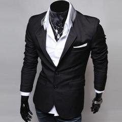 Hot Men's Fashion Slim Fit Stylish Casual Dress Suit Blazer Coats Jackets black m