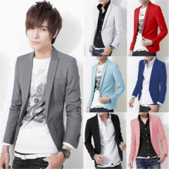 Fashion Men's Slim Fit Stylish Formal Casual One Button Suit Blazers Coat Jacket dark blue l