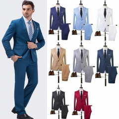 2017 NEW Business Leisure Suit Single Row Of A Buckle A Two-piece Suit The Groom Best Man Wedding navy blue m
