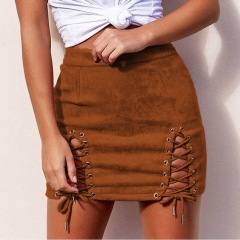 2017 Fashion Women High Waist Bodycon Vintage Suede Leather Lace Up Mini Skirt jujube red xl