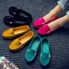 New Women's Ballet Flats Shoes Fashion Cute Slip On Low Heel Ladies Boat Shoes yellow 42