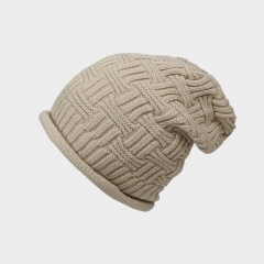 Warm Unisex Winter Hats Men and Women Cotton Knitted Outdoor Ski Beanie Hat navy
