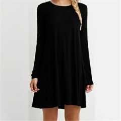 Women's Loose-Fit Pullover Shirt Summer Style Solid Lady Dress Short Cotton T shirt Dress black s