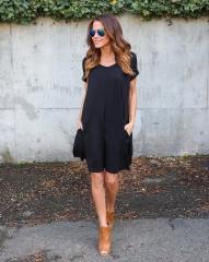 Women Summer Fashion V Neck Basic Short Sleeve Pocket Loose A-line Ruffles Beach Dress black s