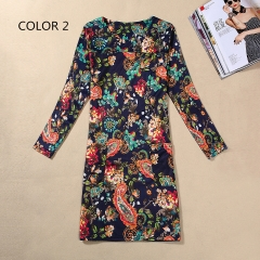 Women's Fashion Summer Autumn Flower Print Slim Fit Long Sleeve Casual Party Dresses Color 1 m