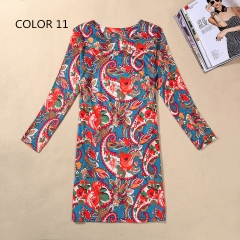 Women's Fashion Summer Fashion Flower Print Slim Fit Long Sleeve Casual Party Dresses color 11 m