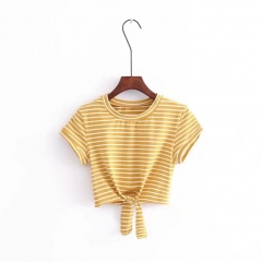 Summer Stripe Front Cropped Short T-shirt Hollow Out Round Neck Tee One Size yellow one size