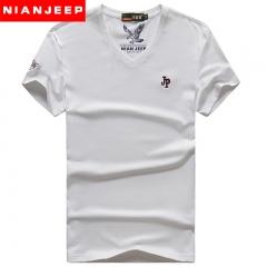 Male v-neck T-shirt top JEEP pure color white m