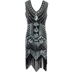 Women's sequined dress front and back v-neck gown dress in Latin party dress black s