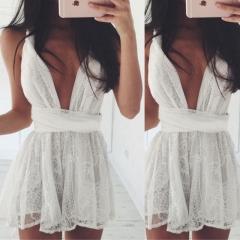 Transparent sexy condole belt dress lace back cross bandage dress fashion white white s
