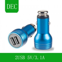 The safety hammer is full of dual USB aluminum alloy shell 5V3. 1A charger Blue USB