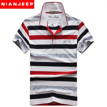 JEEP stripe T-shirt with short sleeves Lapel fashionable men's clothing red l