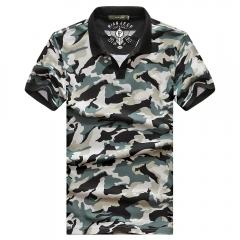JEEP camouflage short-sleeved T-shirt POLOS shirt collar fashion boy lake blue m