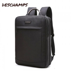 Canvas pure color double backpack, male business waterproof backpack, student computer bag 1618S black Snowflakes cloth