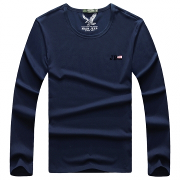 JEEP men's round collar, pure color letter T shirt (Chinese new style) blue xl