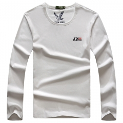JEEP men's round collar, pure color letter T shirt (Chinese new style) white m