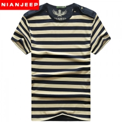 JEEP man stripes T-shirt, short-sleeved round neck jacket, business Polos dress royal blue m