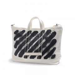 The 2017 menswear classic stripe printing practical bag of canvas shoulder bag zipper is convenient white Male or female