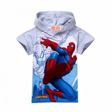 2017 children's clothes hat boy spiderman watermark short-sleeved cotton T-shirt mother's choice gray 110cm