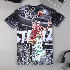 NBA star's new short-sleeved T-shirt is a man's round star 8001 m