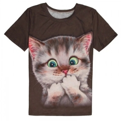 2017 couples costume, 3D cat round collar, men's and women's clothes, short-sleeved t-shirts 8503 m