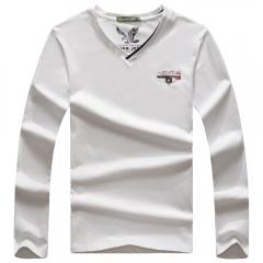 JEEP boy V collar shirt fashion handsome increase number white m