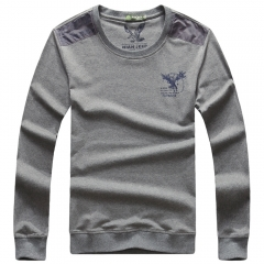 The JEEP round collar T-shirt youth long-sleeved top pure fashion style gray m
