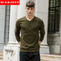 JEEPT T-shirt youth long-sleeved v-neck top pure fashion style army green m