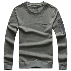 JEEP zipper round collar T-shirt youth long sleeve imprint fly eagle jacket pure color fashion style gray m