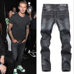 The star also wears classic jeans male youth popular logo straight pants handsome black black 32