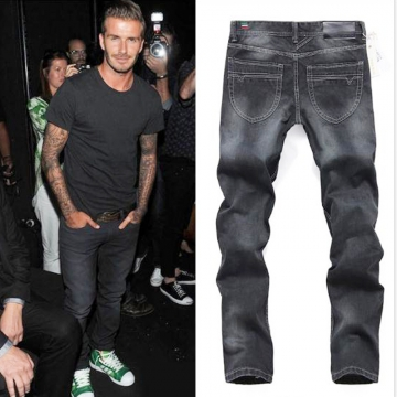 The star also wears classic jeans male youth popular logo straight pants handsome black black 36