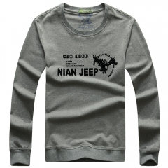 A JEEP gentleman's round neck shirt with a man's handsome long-sleeved shirt gray m