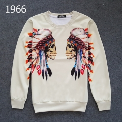 The men's and women's sports circle collar head fashion print the long sleeve letter T-shirt 1966 m