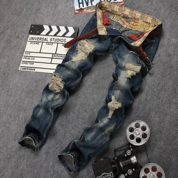 Men's wear ripped straight leg jeans and jeans, European and American patches the picture color 30