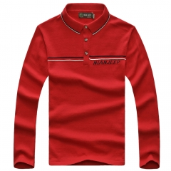 JEEP chic button thin high neck cotton sweater men long sleeve warm lapel T-shirt red m