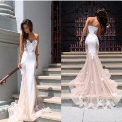 Stylish new lace fishtail girl evening gown with a backpack full of sexy dresses pink s