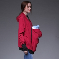 Increase the size of the fashion and leisure hoodie with a multi-function mother hoodie jacket red S