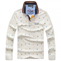 Official JEEP brand boy cotton long-sleeved T-shirt big round collar jacket white m