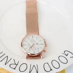 Classic watch British college style fashion trends single men's six-pin quartz watch white