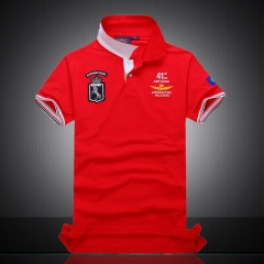 Hot style leisure embroidery Polos, young men's lapel cotton T-shirt quality is good red m