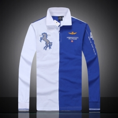 The new hot men's long sleeve polo shirt collar net cotton long sleeves blue m