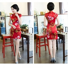 Plain new style shows thin reception red short style Chinese women's ceremonial cheongsam red s