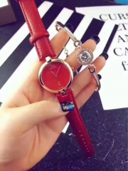 Exclusive sale of Paris style ladies belt watch fashion small bracelet + watch set red