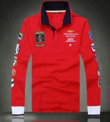 Exclusive new fashion long sleeves polo shirt turn collar long sleeve embroidery cotton T shirt male red m
