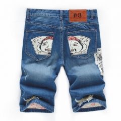 Smiley men's straight jeans short men summer loose holes five creative jeans pants hip hop boom ds 32